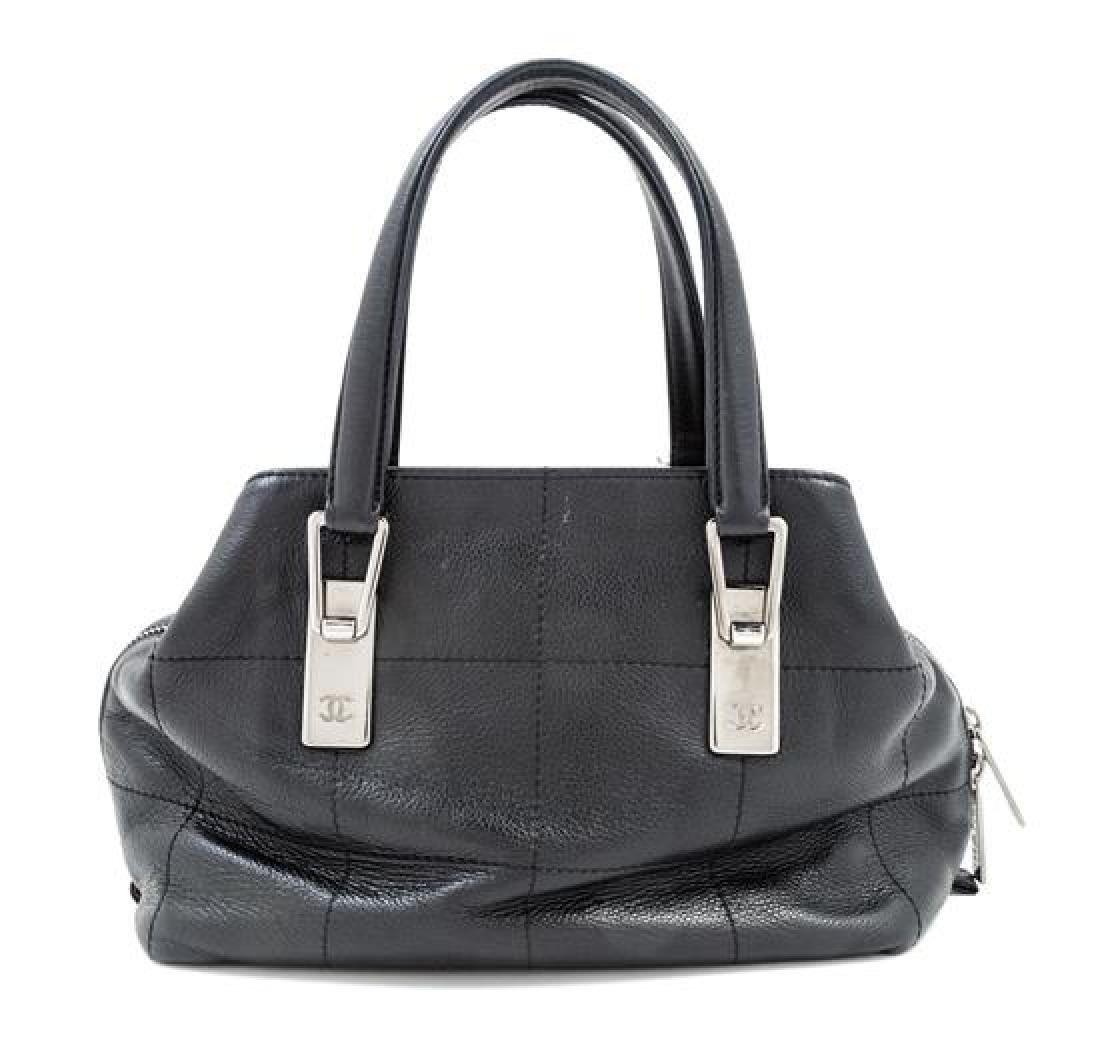 A Chanel Black Leather Handbag,