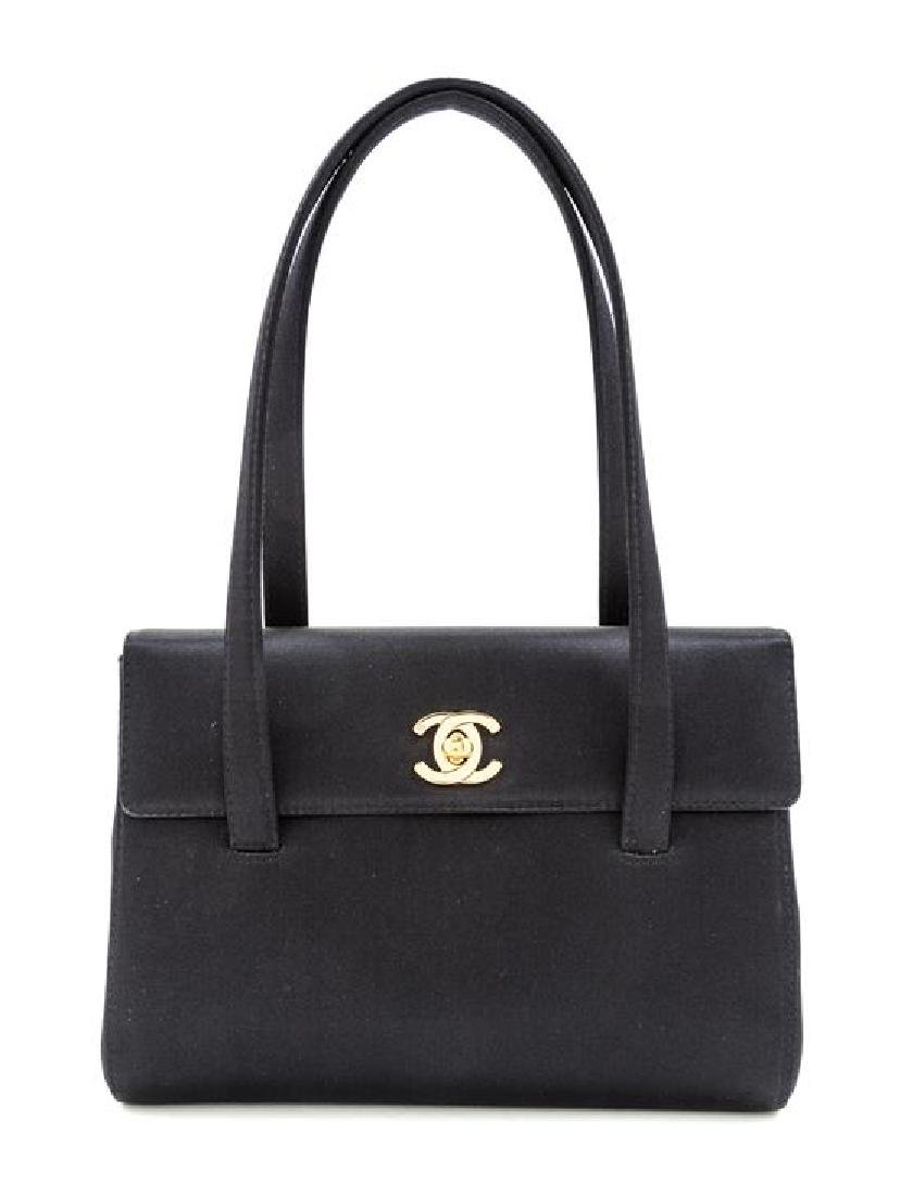 A Chanel Black Satin Small Flap Handbag,