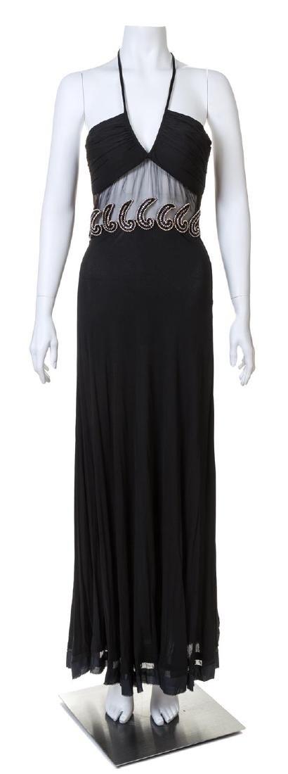 A Galanos for Amelia Gray 1960s Black Halter Gown,