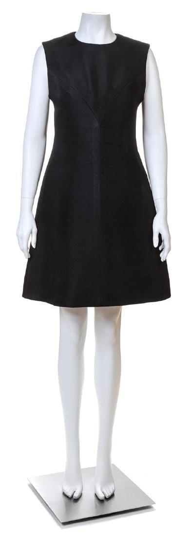 A Givenchy Black Wool A-Line Sleeveless Dress,