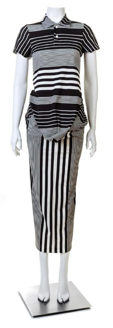 A Comme des Garcons Black and White Striped Polo-Style
