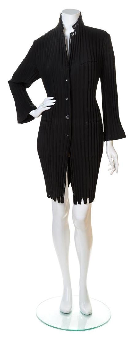 An Issey Miyake Black Pleated Coat,