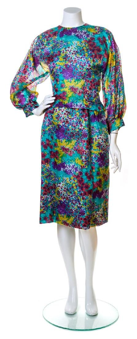 A Pauline Trigere Multicolor Silk Floral Dress,