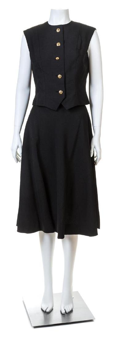 A Pauline Trigere Black Sleeveless Vest and Skirt Set,