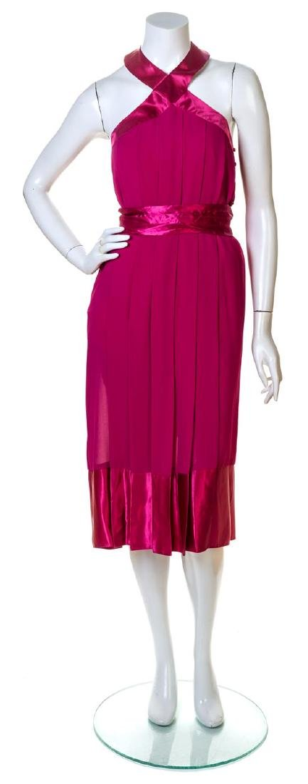 A Pierre Cardin Fuschia Pleated Cocktail Dress,