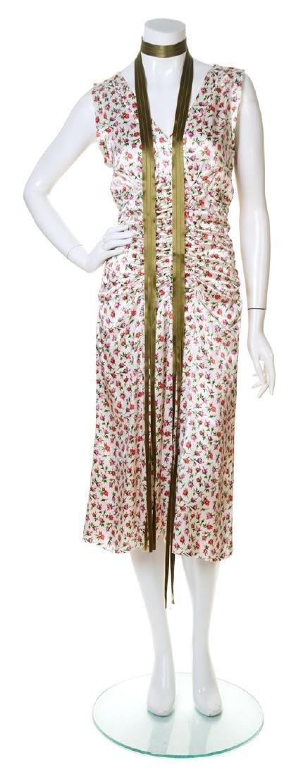 A Prada Silk Floral Sleeveless Dress,