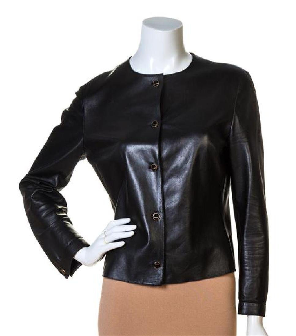 A Prada Black Leather Jacket,