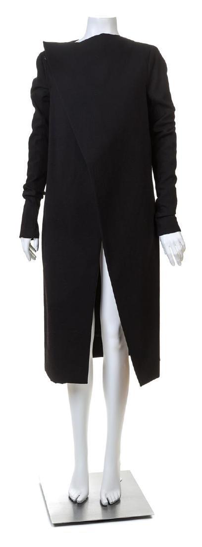 A Rick Owens Black Wool Asymmetrical Wrap Coat,
