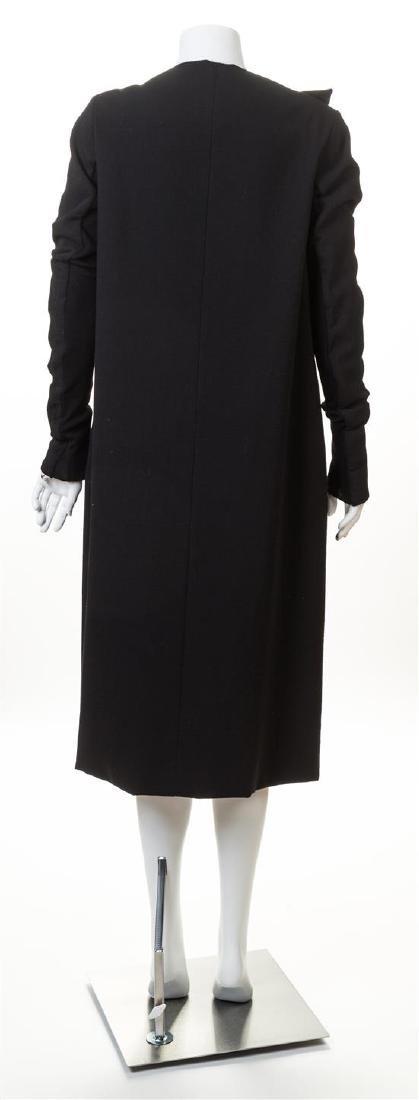 A Rick Owens Black Wool Asymmetrical Wrap Coat, - 2