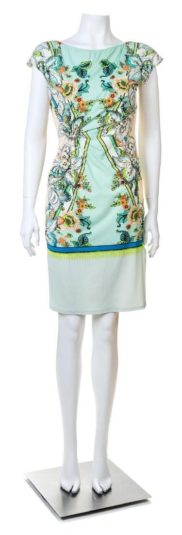 A Roberto Cavalli Mint Green Floral Print Dress,