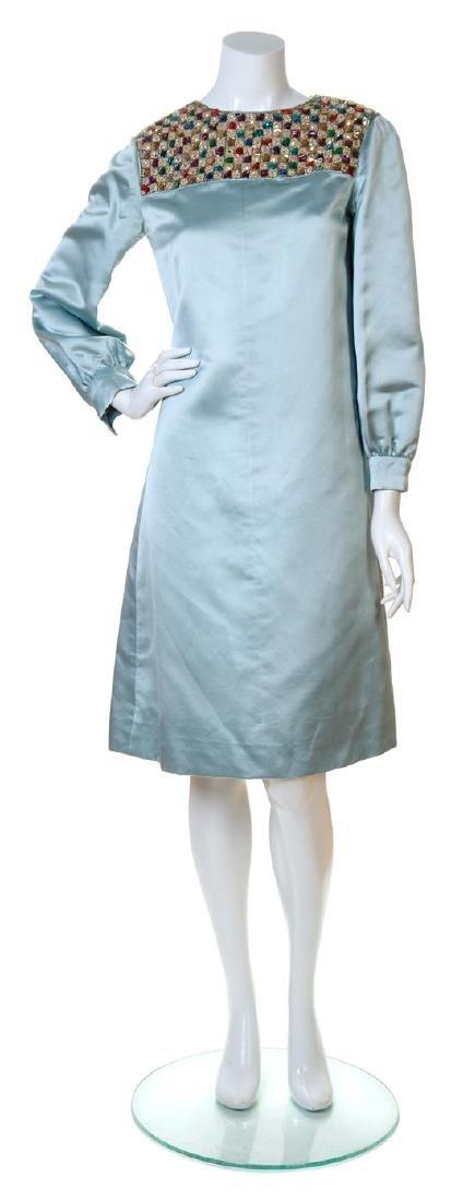 A Teal Traina Blue Silk Dress,