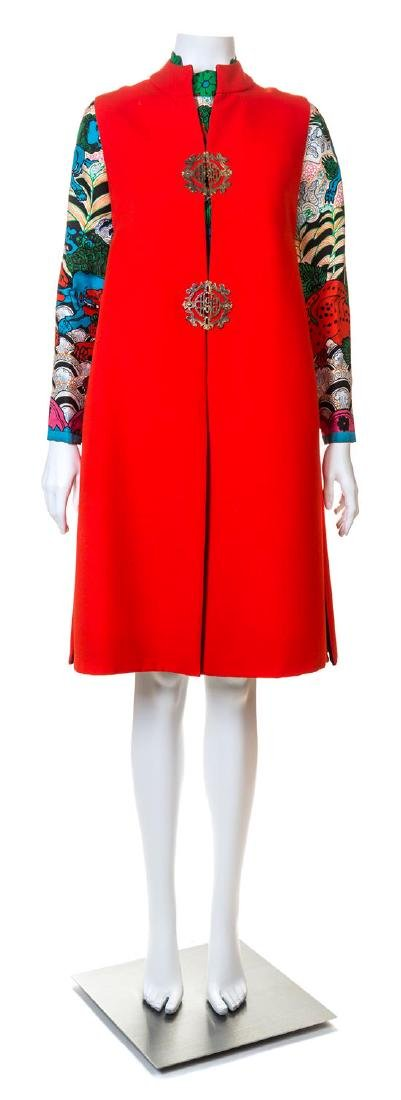 A Tina Leser Multicolor Silk Dress and Red Wool Vest,