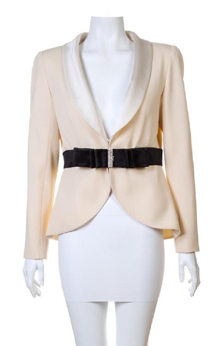 A Valentino Cream Wool Tuxedo Peplum Jacket,