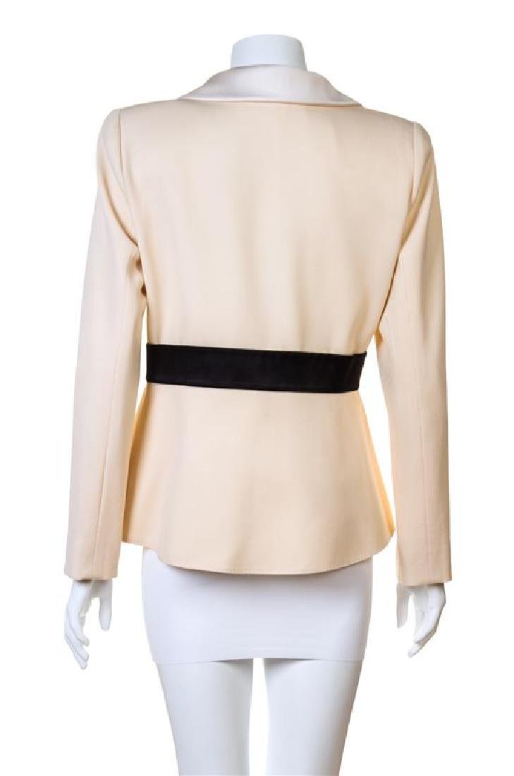 A Valentino Cream Wool Tuxedo Peplum Jacket, - 2