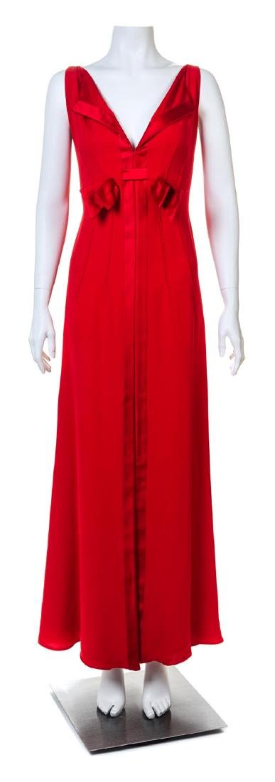 A Valentino Red Sleeveless Gown,