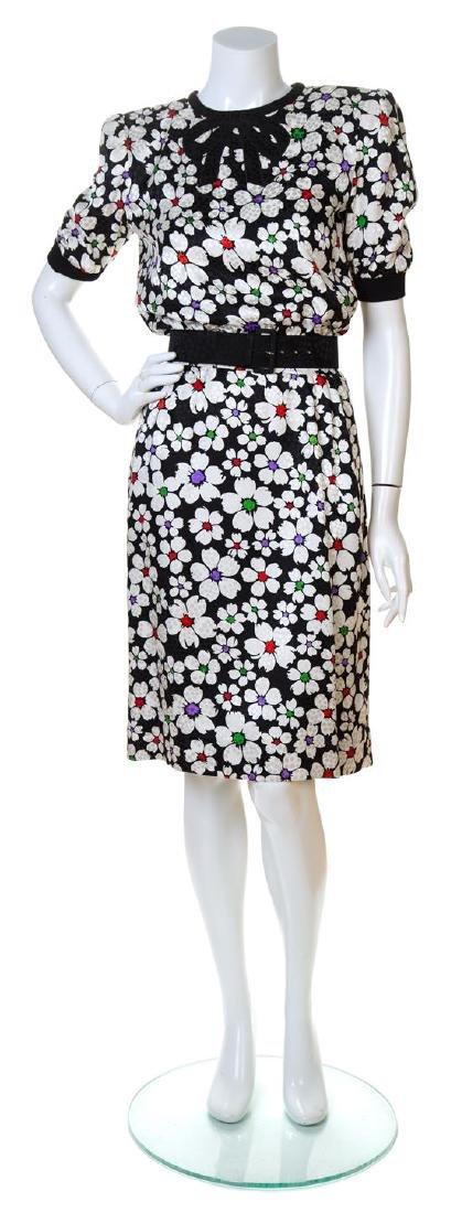 A Valentino Black and White Silk Floral Print Dress,