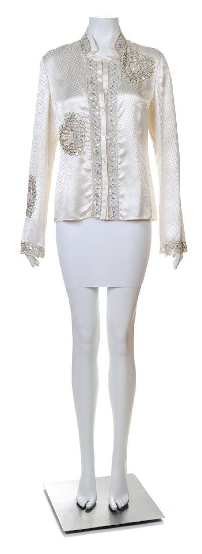 A Valentino Cream Silk Embellished Blouse,