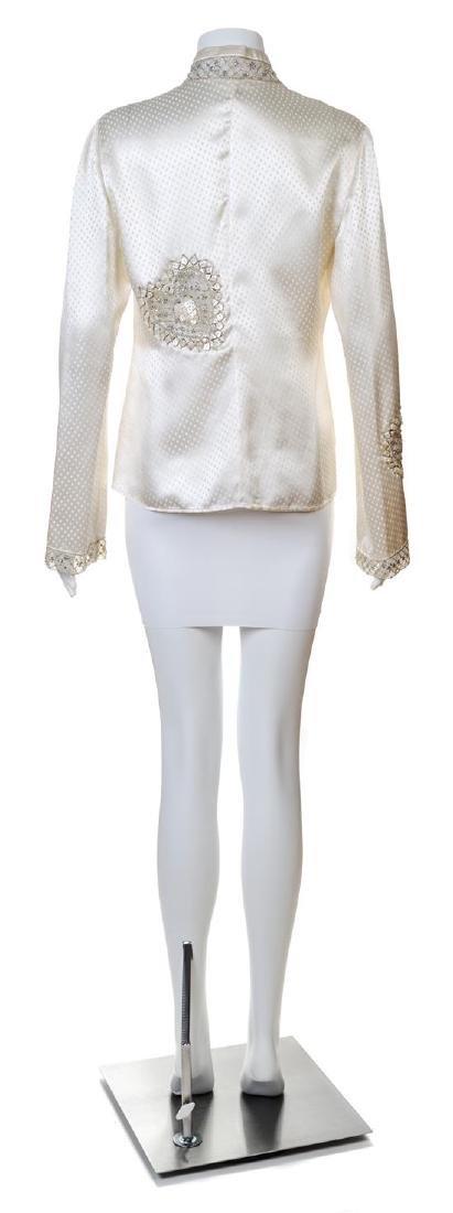 A Valentino Cream Silk Embellished Blouse, - 2