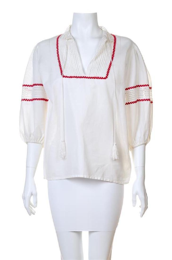 An Yves Saint Laurent Cotton Bohemian Blouse,