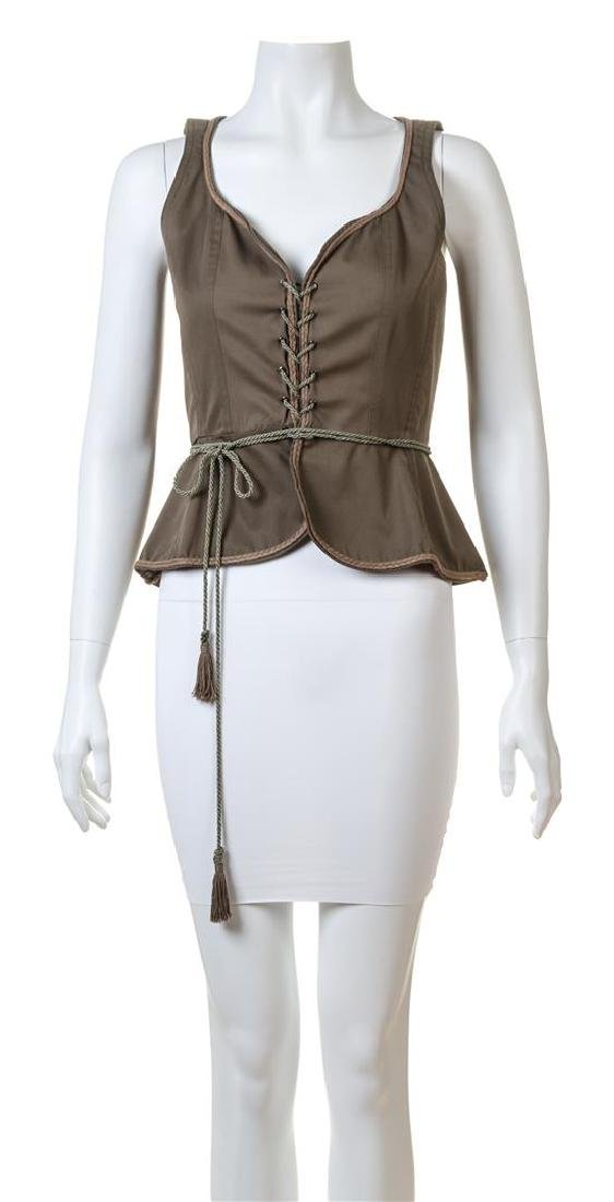 A Saint Laurent Army Green Cotton Vest,