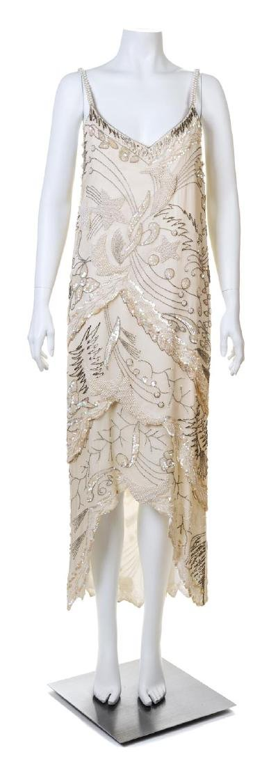 A Cream Hand Beaded Sleeveless Gown,