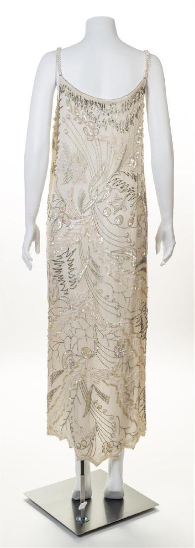 A Cream Hand Beaded Sleeveless Gown, - 2