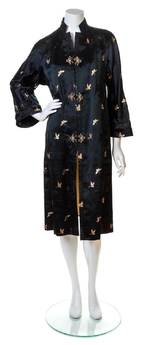 A Black Silk Embroidered Coat,
