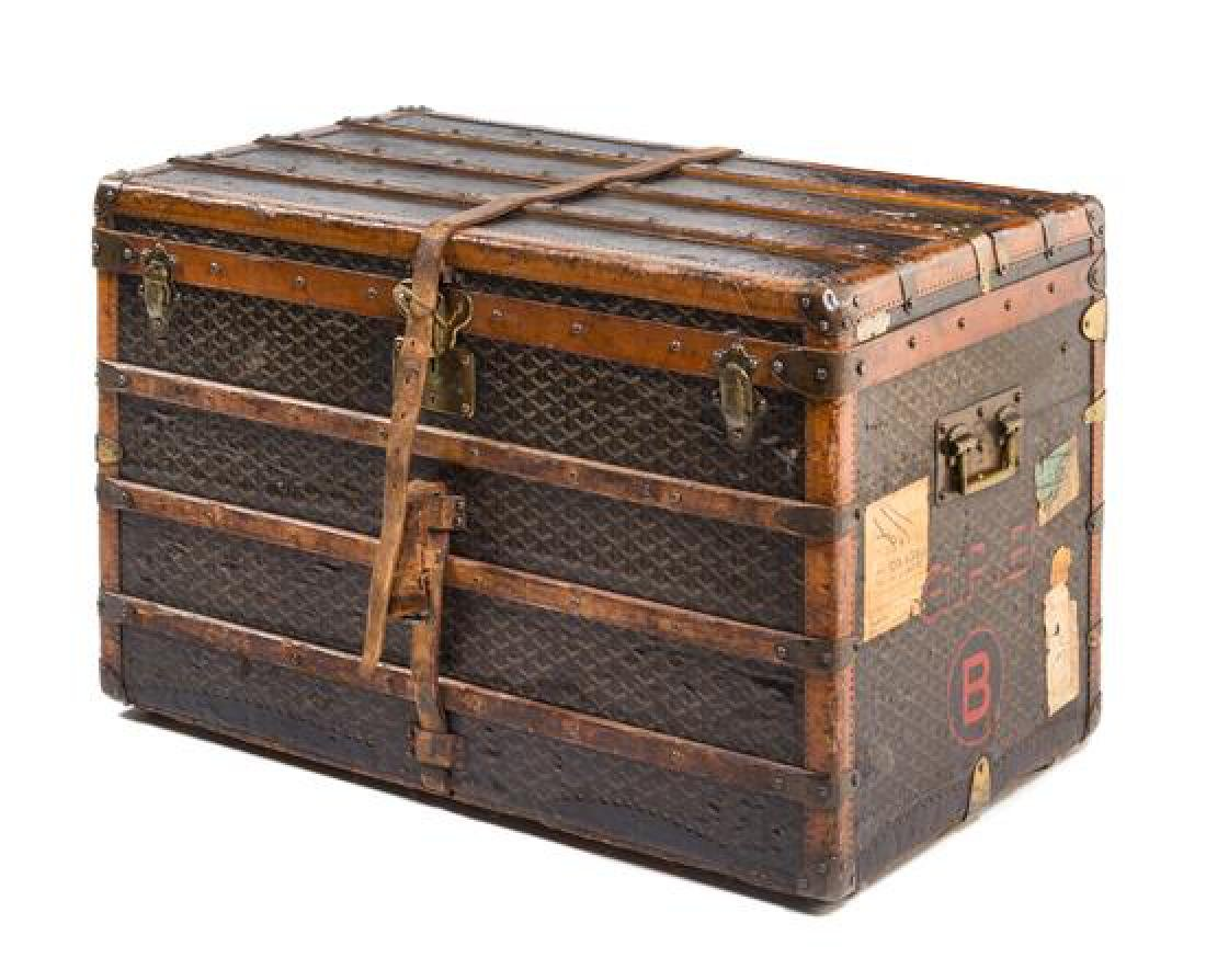 A Malles Goyard Flat Top Steamer Trunk,