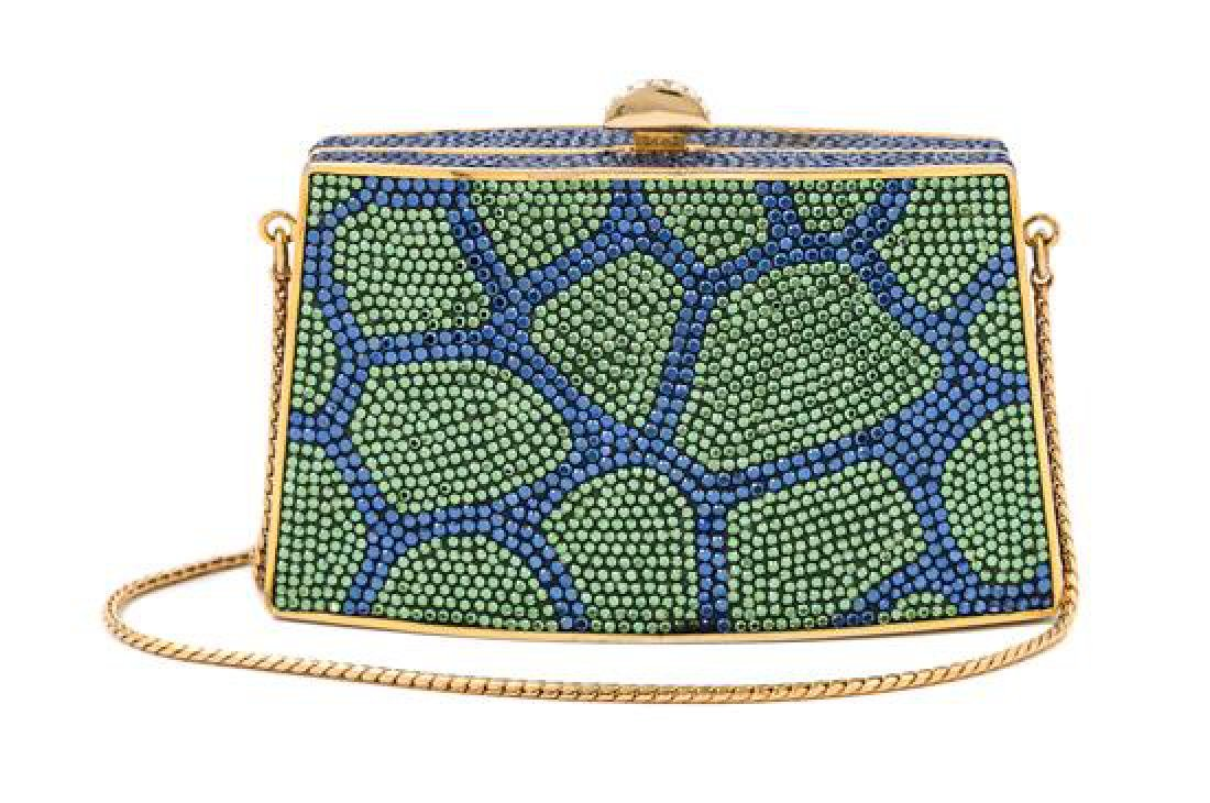 A Judith Leiber Blue and Green Crystal Clutch,
