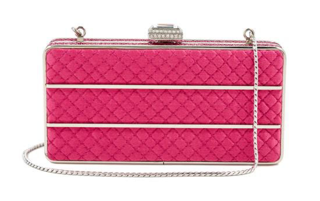 A Judith Leiber Pink Quilted and Rhinestone Rectangular
