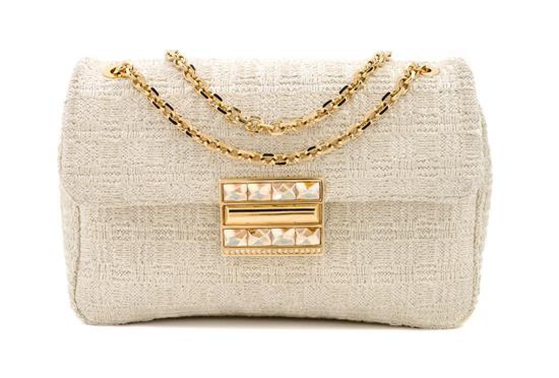A Judith Leiber Cream Tweed Flap Handbag,
