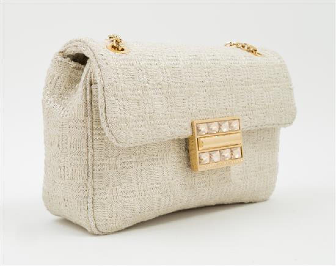 A Judith Leiber Cream Tweed Flap Handbag, - 2