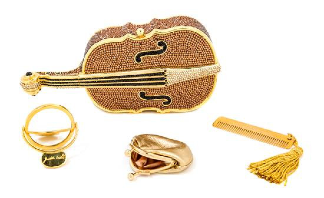A Judith Leiber Crystal Cello Minaudiere,
