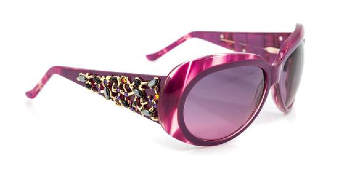 A Pair of Judith Leiber Purple Frame Sunglasses,
