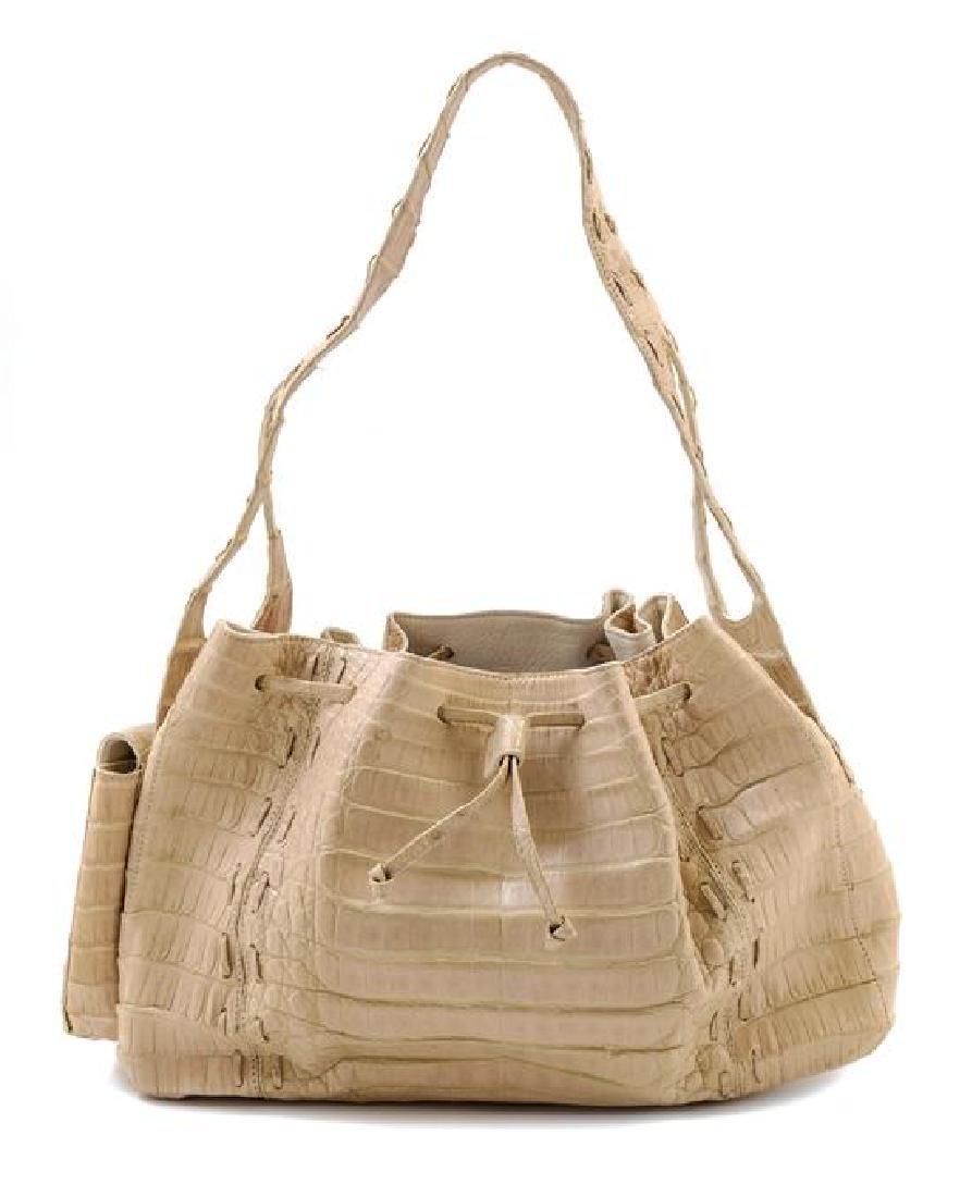 A Nancy Gonzalez Cream Crocodile Handbag,