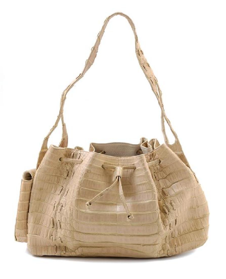 A Nancy Gonzalez Cream Crocodile Handbag,