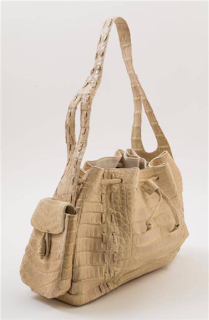 A Nancy Gonzalez Cream Crocodile Handbag, - 2