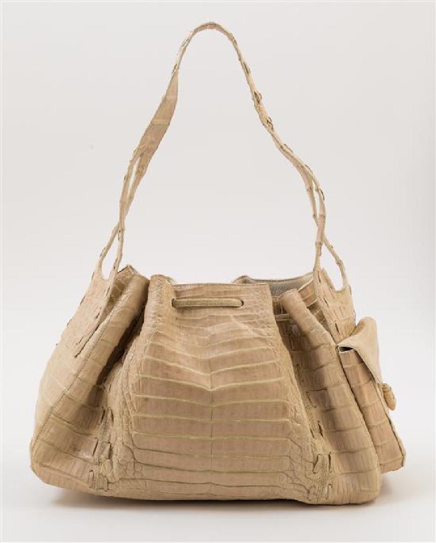 A Nancy Gonzalez Cream Crocodile Handbag, - 3