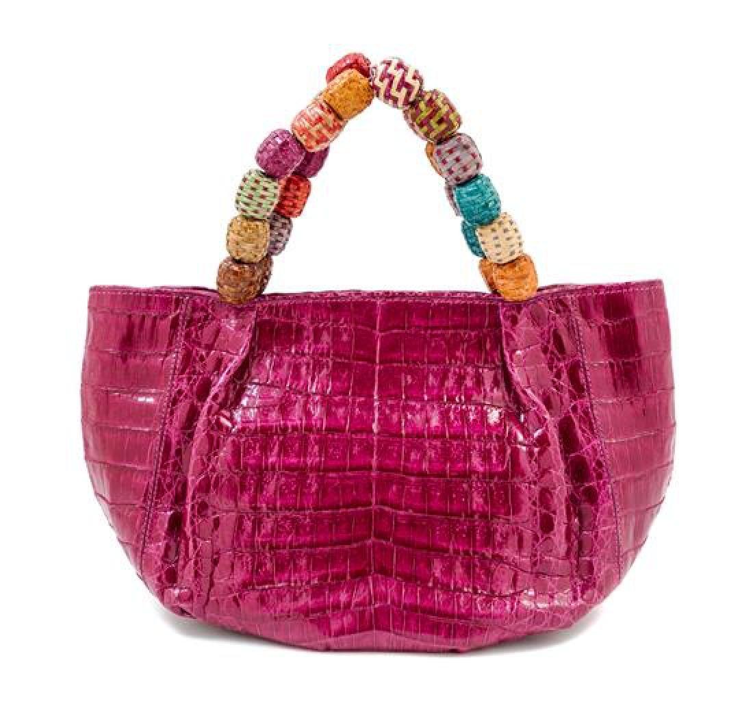 A Nancy Gonzales Fuchsia Crocodile Mini Handbag,