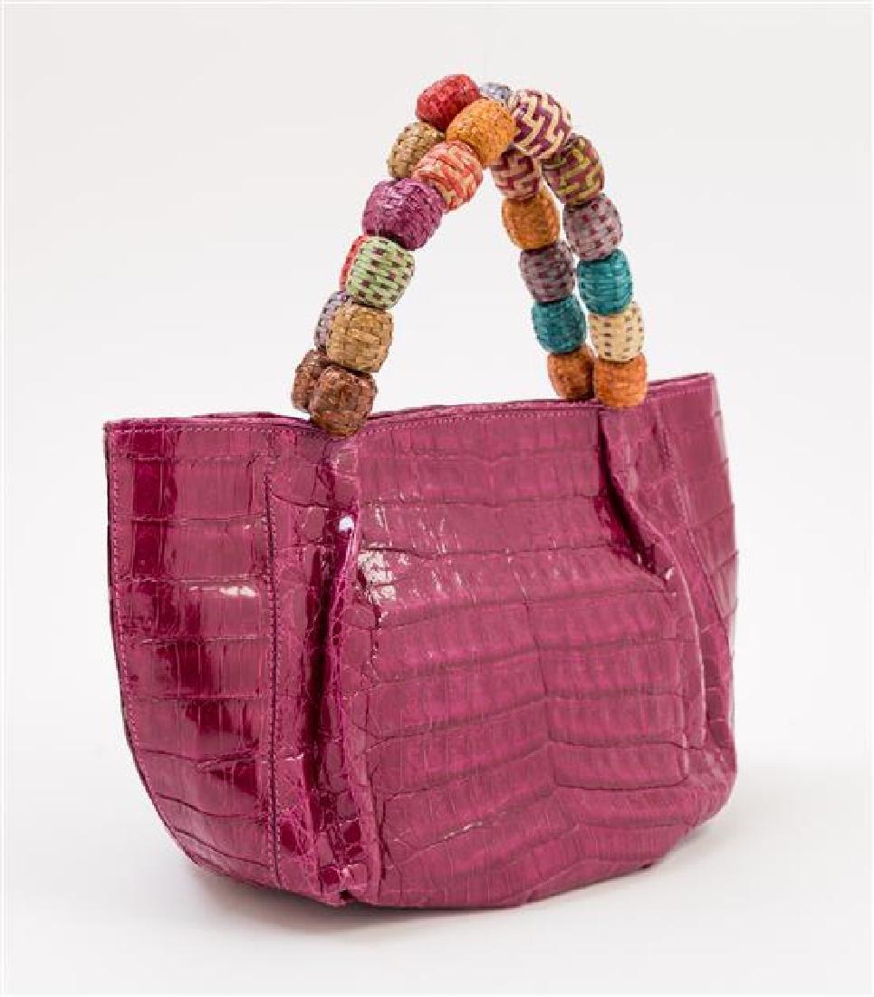 A Nancy Gonzales Fuchsia Crocodile Mini Handbag, - 2