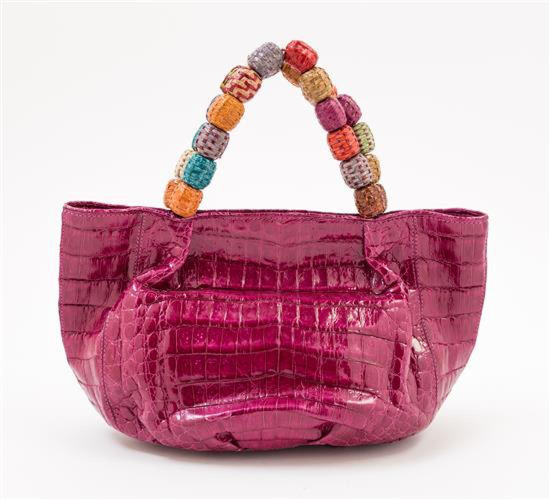 A Nancy Gonzales Fuchsia Crocodile Mini Handbag, - 3