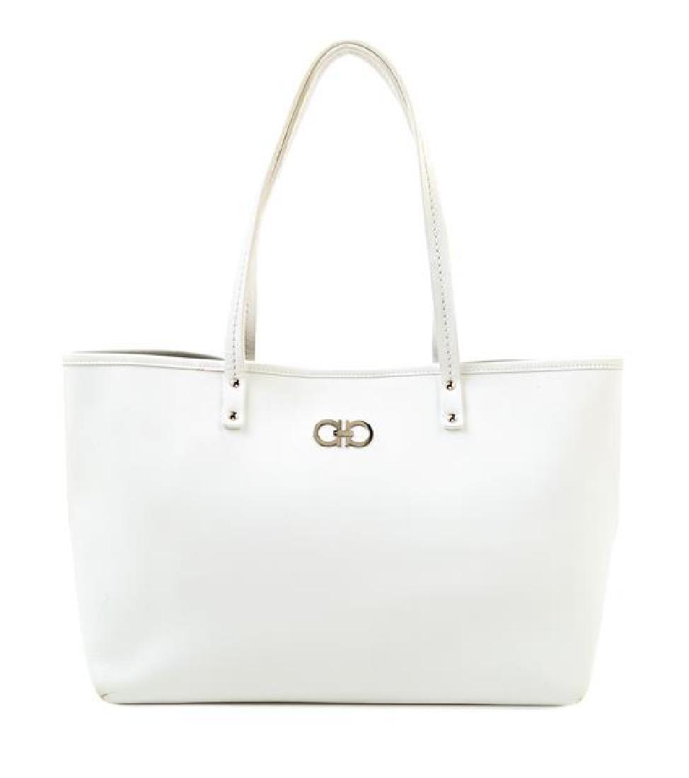 A Salvatore Ferragamo White Leather Tote Bag,