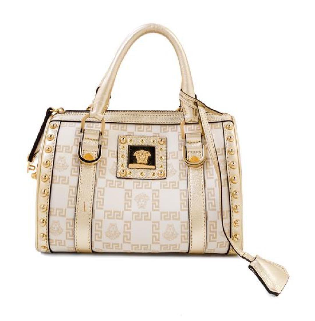 A Versace Metallic and Cream Monogram Handbag,