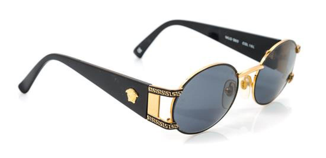 A Pair of Versace Goldtone Round Framed Sunglasses,