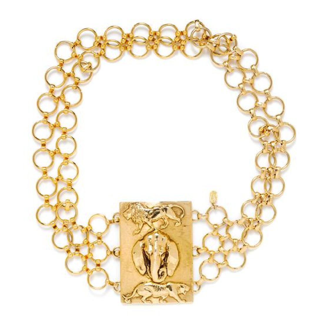 A Christian Dior Goldtone Animal Motif Belt,