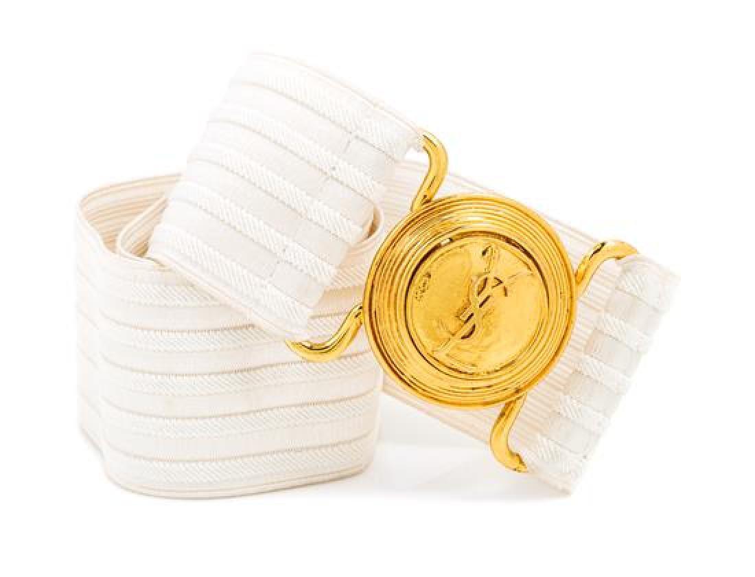 An Yves Saint Laurent White Stretch Belt,