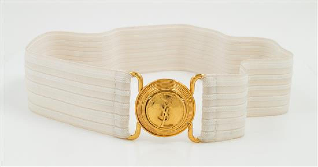 An Yves Saint Laurent White Stretch Belt, - 2