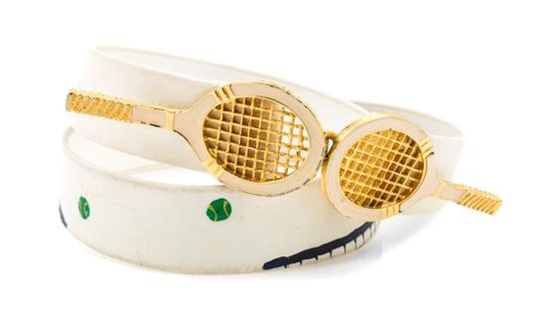 A White Leather Hand Painted Tennis Belt,