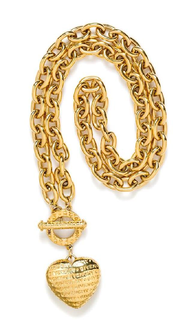 A Givenchy Goldtone Link Necklace with Heart Pendant,