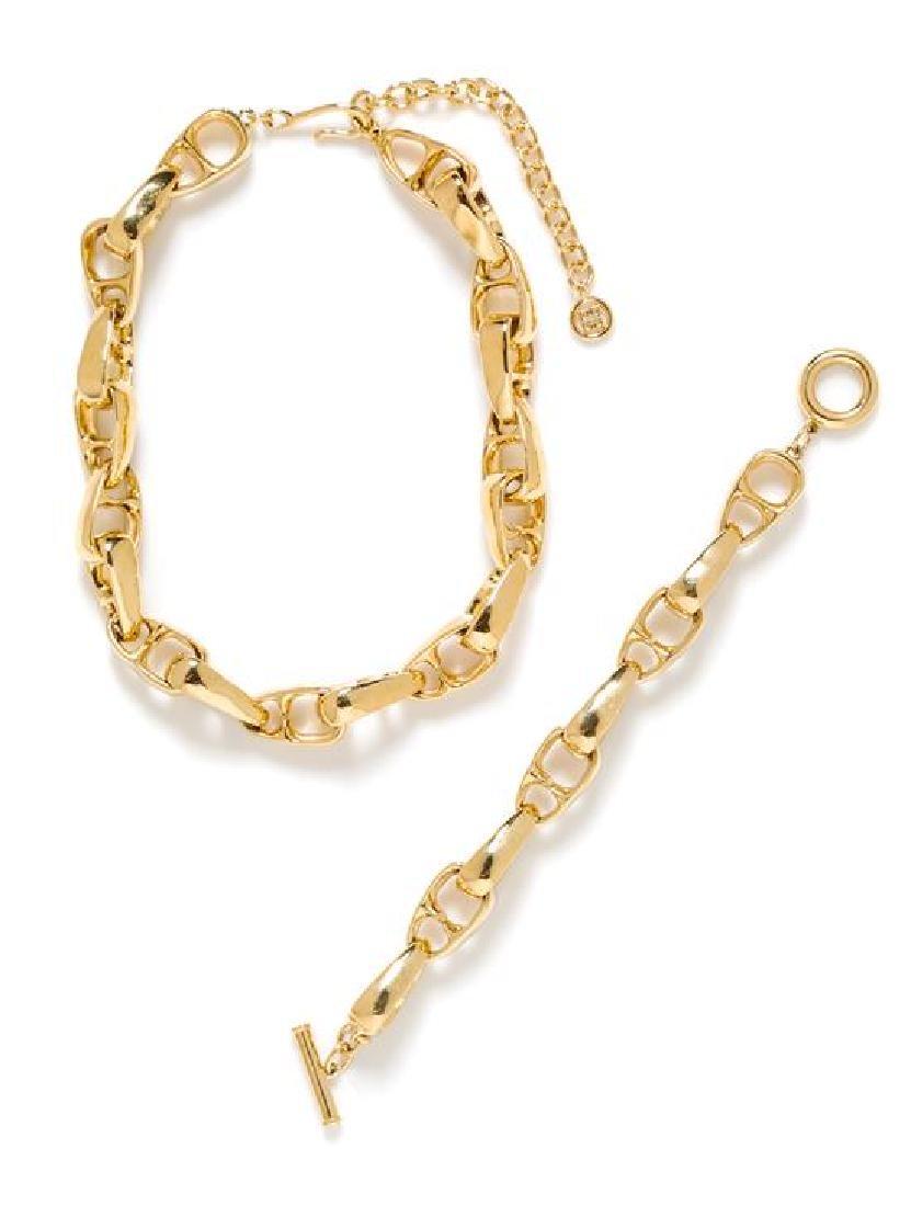 A Givenchy Goldtone Stylized Link Necklace and Bracelet